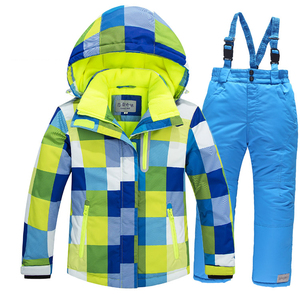 Image 2 - 2019 Winter Set for Boy Fleece Hood Warm Girls Skiing Suits Windproof Sport Children Outfits Clothes Kids Snow Suits Tracksuit