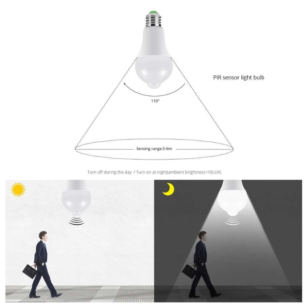 PIR Motion חיישן LED מנורת הנורה 12W 18W E27 110 V-220 V לילה חיישן אור עבור מעבר מסדרון מדרגות מרפסת חירום תאורה