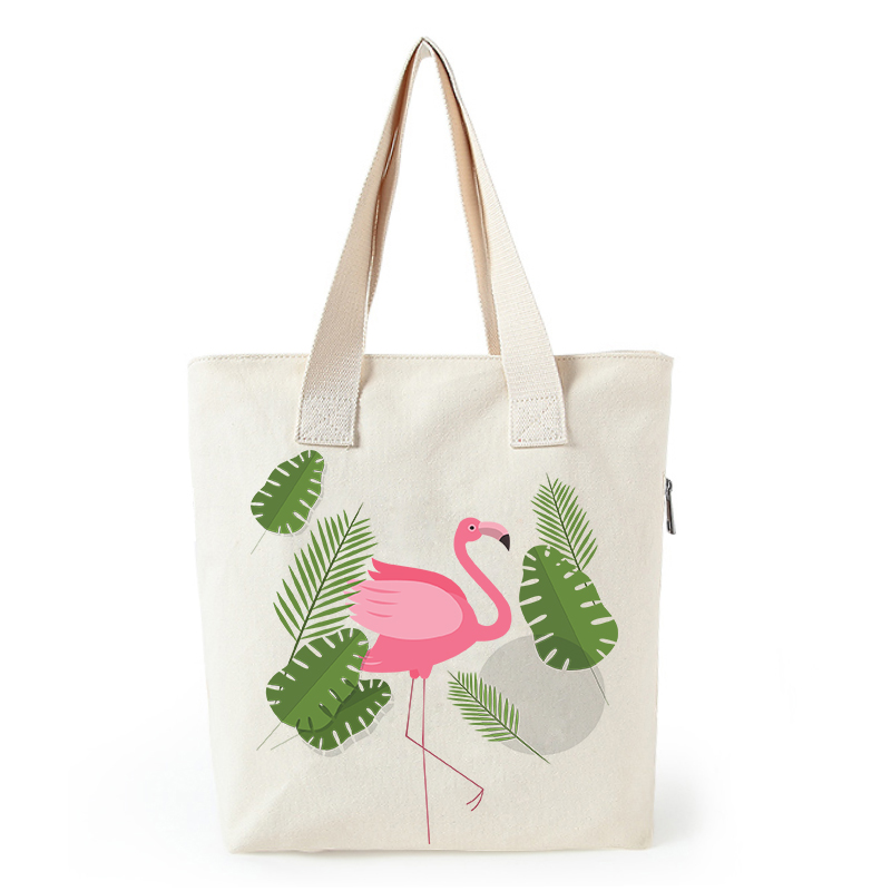 Flamingo print canvas tote bag customized eco bags custom made shopping bags with logo  Dachshund Shepherd Dog Poodle (13)