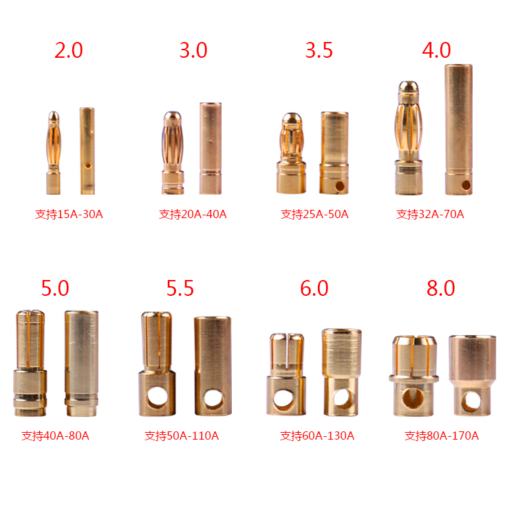 10pcs Amass Banana Plug 2mm 3mm 3.5mm 4mm 5mm 5.5mm 6mm 6.5mm 8mm Female Male Connectors Bullet Gold Plated Copper Head RC Parts