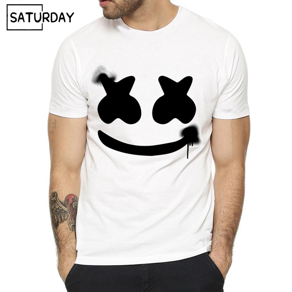 Men DJ Marshmello Print Fashion T-shirt Summer Casual Short O-Neck Sleeves  White Hipster T-shirt Unisex Clothes Dropshipping