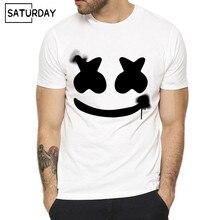 Men DJ Marshmello Print Fashion T shirt Summer Casual Short O Neck Sleeves White Hipster T