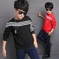 Sports Tees Shirts For Boys Teenage Clothing Cotton Plus Velvet Boys T-Shirts Striped Kids Tops Sweatshirts 5 7 9 11 13 14 Years