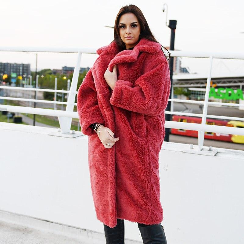 Ivoire rouge 50c Cisaillement Peluche Manteau Hiver g Cx 2018 Ours Femmes De Mouton Mode En orange a wPOiXZukT