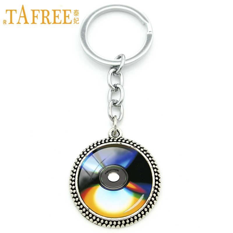 TAFREE ouvir música Mágica ferramentas Chaveiro Keychain CD brilhante rodada cúpula de vidro cabochão jóias das mulheres dos homens Retro H503