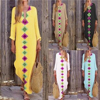 Women  Print  V-neck Side Slit Bohemian Dresses Shift Boho Maxi DressWomen's fashion stitching print dress aztec print plunge backless shift dress