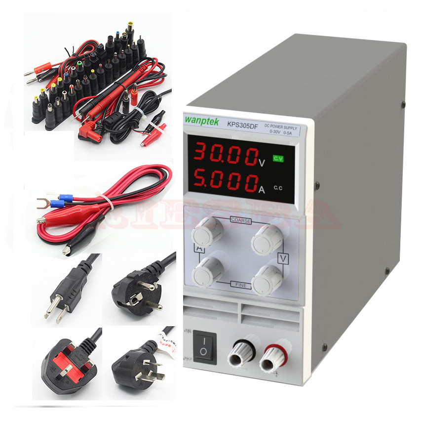 wanptek KPS305DF LED Digital Adjustable Switch DC Power Supply mA display 0.01V-30V 0.001A-5A 110V-230V 30v 5a dc regulated power high precision adjustable supply switch power supply maintenance protection function kps305df