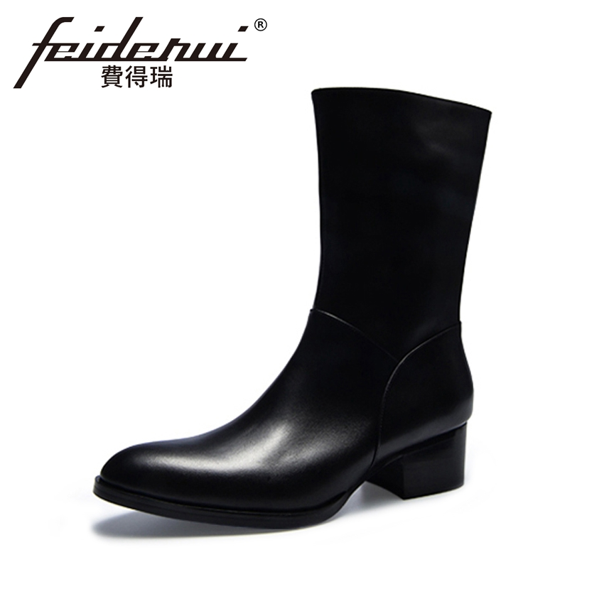 Fashion Genuine Leather Men's High-Top Motorcycle Boots Pointed Toe Mid-Calf High Heels Handmade Man Cowboy Martin Shoes HQS265 plus size 2016 new fashion genuine leather formal brand man mid calf boots men s winter pointed toe rivets cowboy shoes fpt451