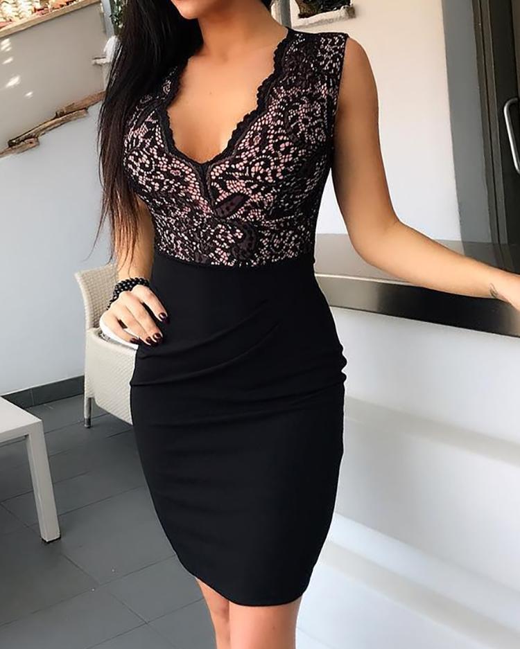 Black Sheath Sleeveless V-Neck Bodycon Mini Dress 4