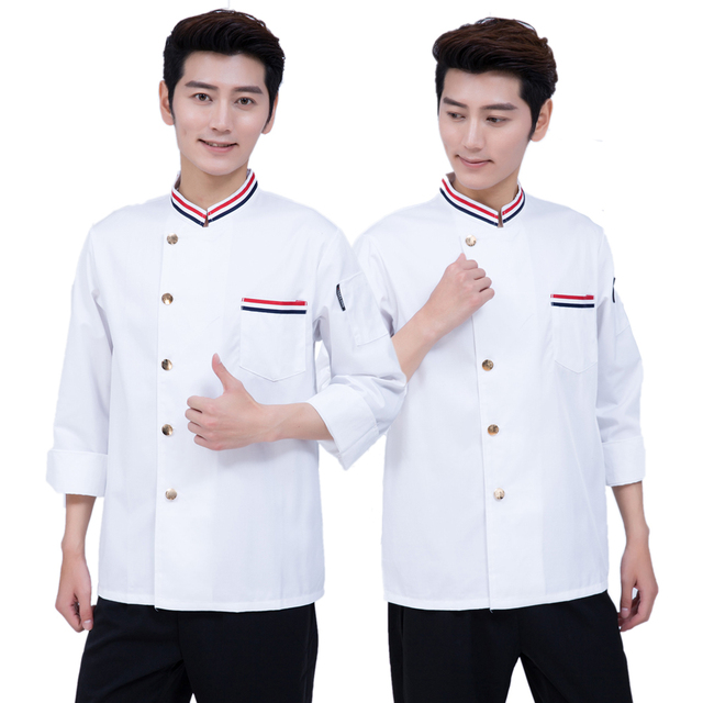 Top Quality Cook Suit  Man/woman White Restaurant Hotel Long Sleeve Chef Uniform Hotel Kitchen Cook Work Wear Chef Clothes