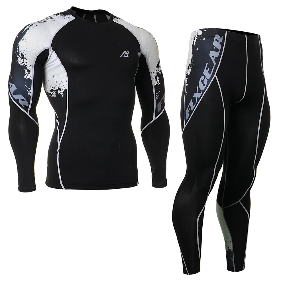 Mens Compression Quick Dry Sportswear Training Fitness Set Tight Tracksuit Long Shirt Sl ...