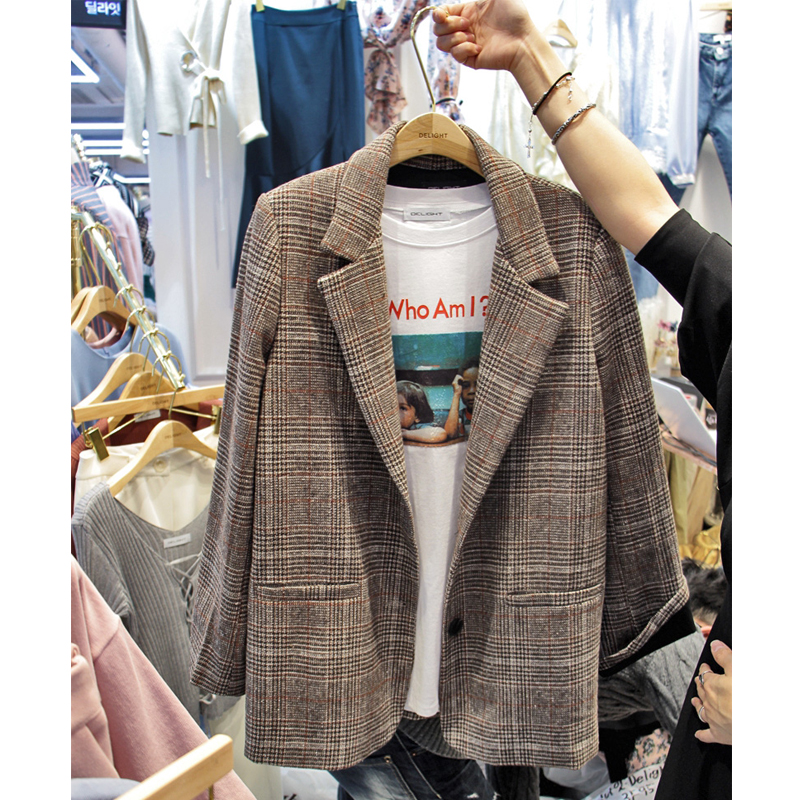 Autumnand Winter New Women's Retro Plaid Suit Jacket Straight Female Casual Woolen Jacket Slimsuit Jacket LadiesTrendy Wild Suit