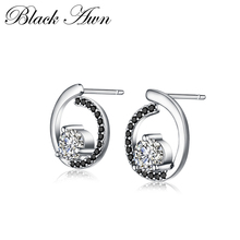 Черные Аун из натуральной 925 пробы, серебряные ювелирные изделия, трендовые серьги-гвоздики для помолвки для женщин, женские серьги TT011
