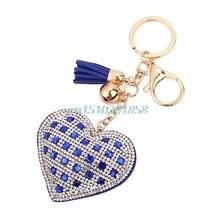 Fashion Charm Crystal Rhinestone Keyrings Heart Tassel Key Chains Holder Purse Bag For Car christmas Gift Keychains Jewelry