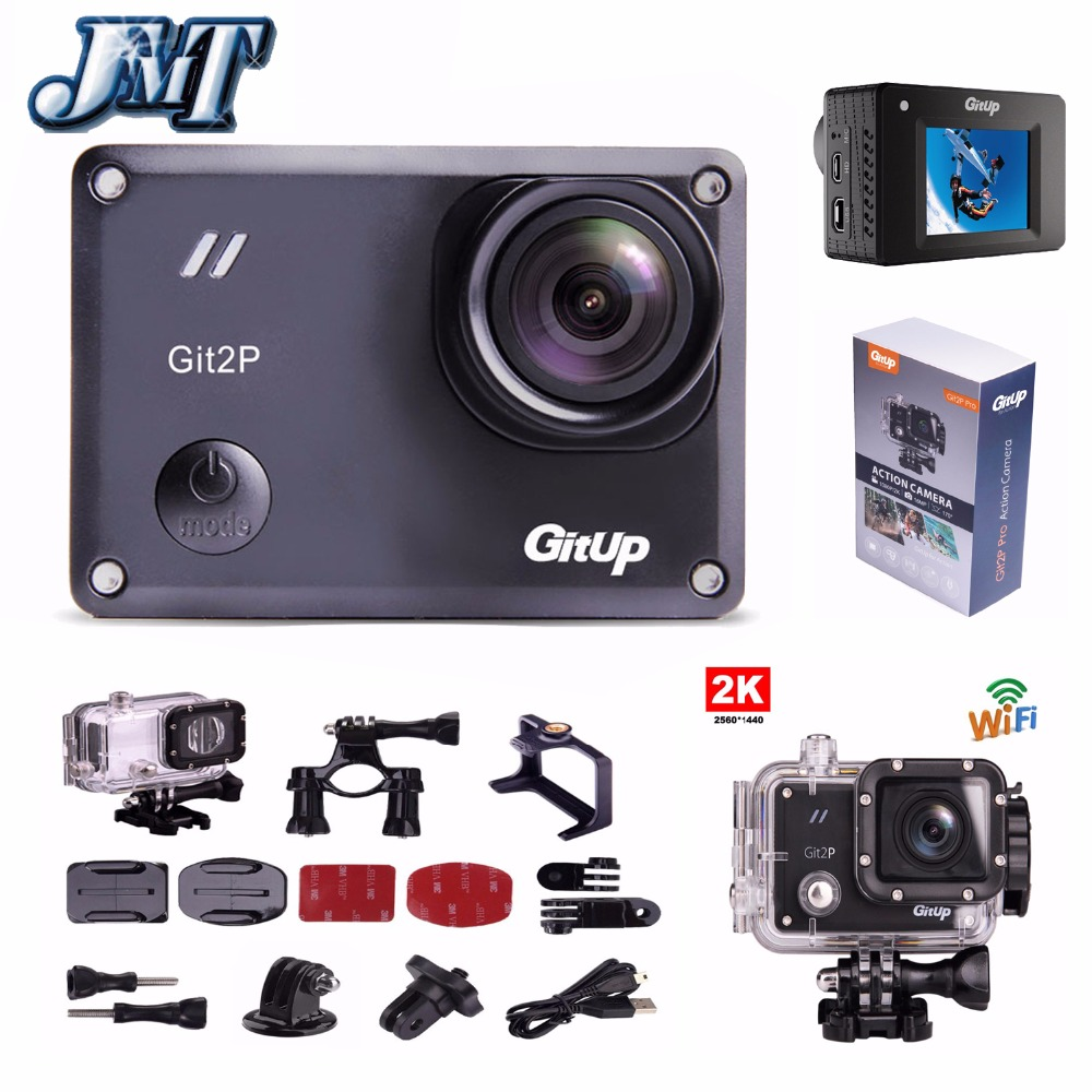 JMT GitUp Git2P Pro Packing 2K 1080p 60fps FHD Sports Action Camera for Panasonic MN34120PA 16MP Support G-Sensor Wifi original gitup git2 standard packing 2k wifi sports camera full hd for sony imx206 16mp sensor extra 1pcs battery dual charger