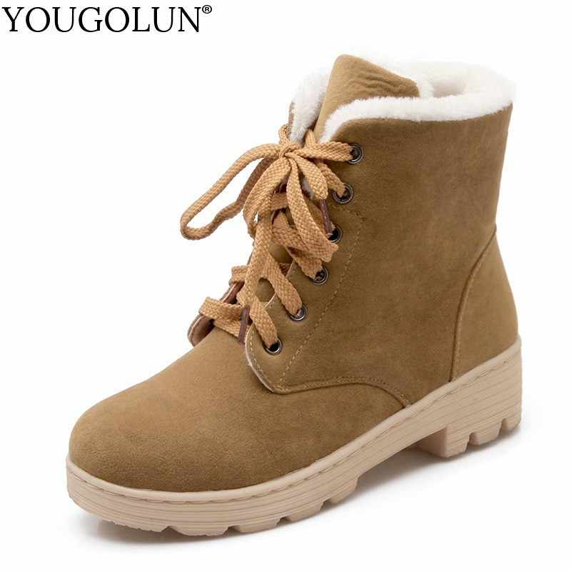 Lace Up Snow Boots Women Winter Short Boots Ladies Mid Square Heels A278 Fashion Warm Shoes Woman Red Black Apricot Ankle Boots