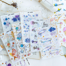 3Sheets/pack Vintage Gold Mermaid Sticker Scrapbooking Creative DIY Journal Decorative Adhesive Flake Cute Stationery