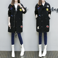 4xl Outfit Thin Black Long Trech Coat Female Y0372