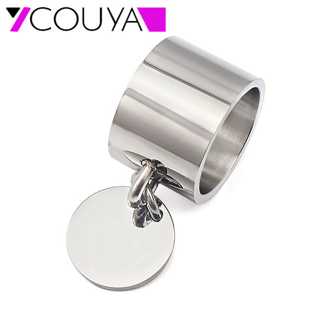 Fashion Silver Rings anillos Stainless Steel Big Party Charm Rings for Women FeM