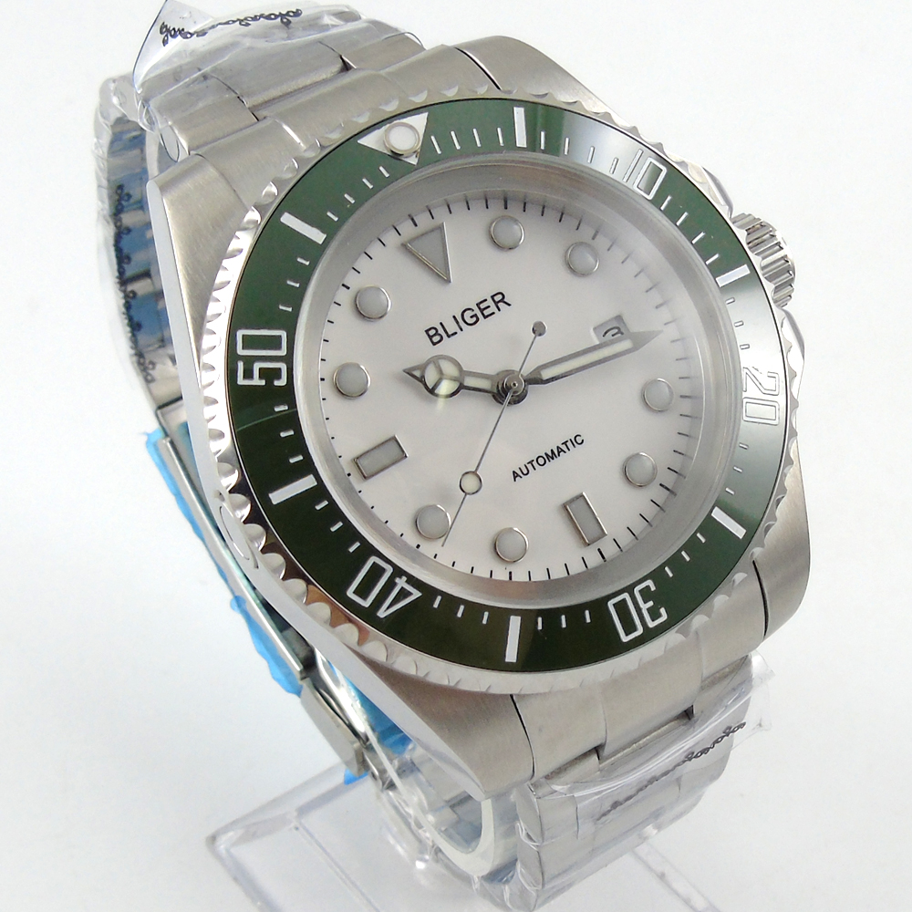 купить Bliger 44mm white Sterile dial green Ceramic Bezel automatic mens watch по цене 6969.74 рублей