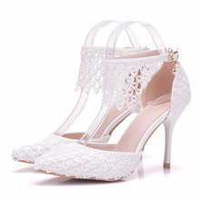 купить Women Fashin Tassel Lace High Heels Sandals Thin Heel White Pointed Bride Shoes Female Dress Wedding Shoes Big Size XY-A0136 дешево