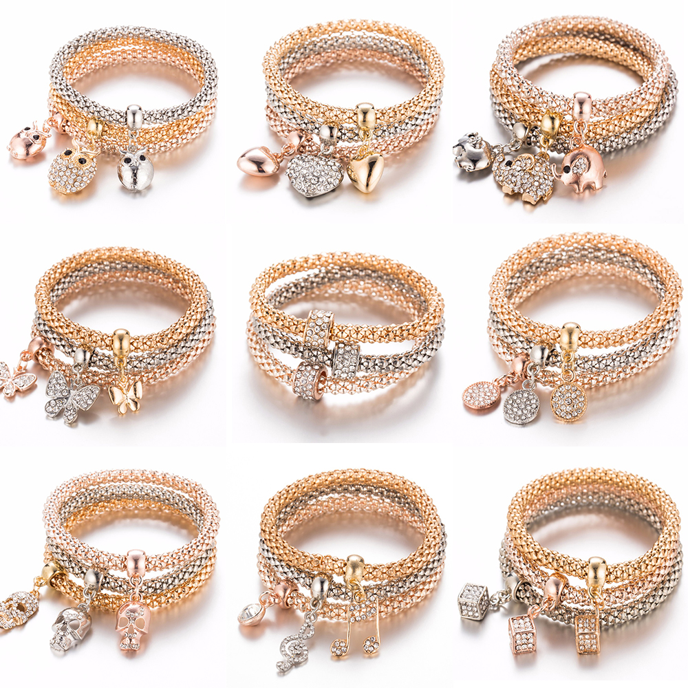 3Pcs/Set Owl Crystal Heart Bracelet & Bracelet Gold/Silverized Elephant Anchor Pendant Female Rhinestone Bracelet Gift