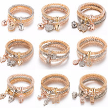 3Pcs/Set Owl Crystal Heart Bracelet & Bracelet Gold/Silverized Elephant Anchor Pendant Female Rhinestone Bracelet gift(China)