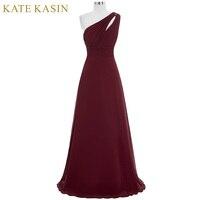 Kate Kasin Long Prom Dresses Abendkleider 2017 Gala Jurken Evening Dress One Shoulder Blue Pink Green