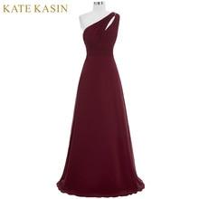 Kate kasin Длинные платья выпускного вечера Abendkleider 2017 Гала jurken; вечернее платье на одно плечо синий розовый зеленый бордовый платья для выпускного вечера