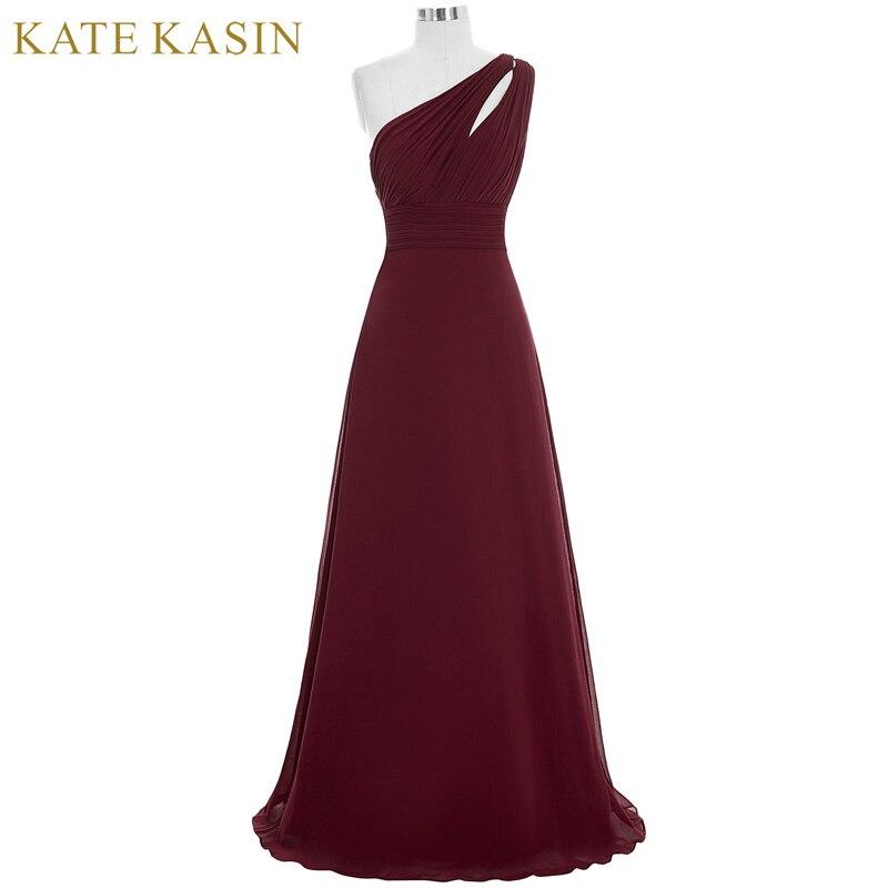 Kate Kasin Robes De Bal Longues Abendkleider 2018 Gala Jurken Robe de Soirée Une Épaule Bleu Rose Vert Bourgogne Robes De Bal