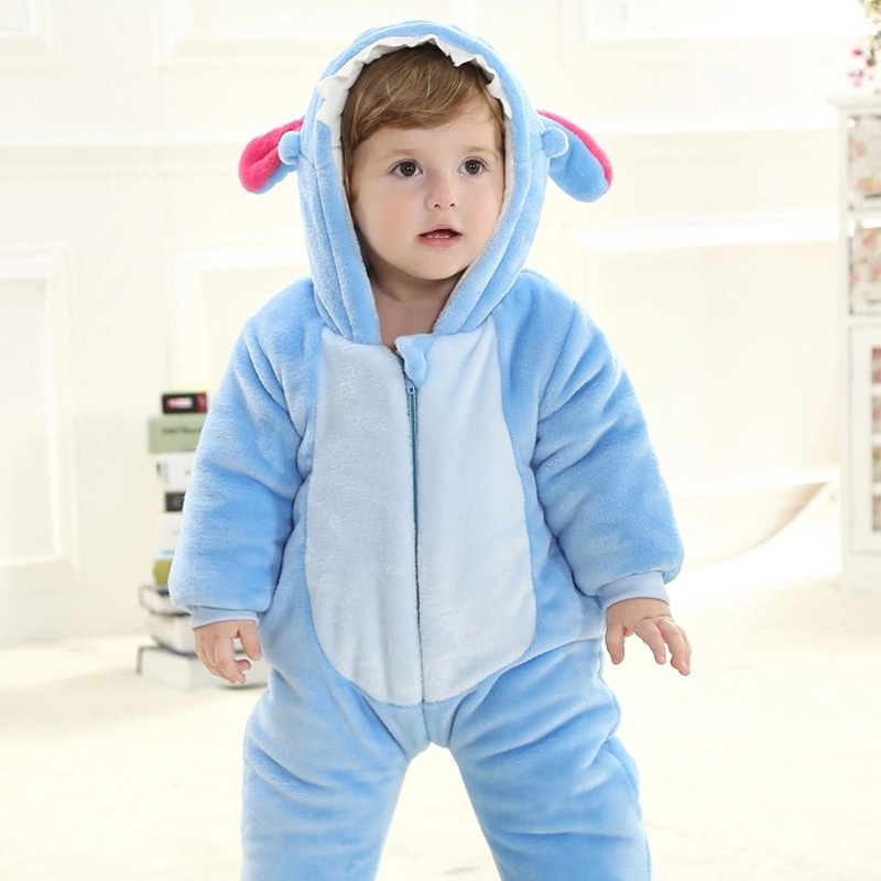 Winter Baby Clothes Infant Romper Baby Boys Girls Animal Blue Stitch Jumpsuit Baby's Sets Clothing Hooded Toddler Baby Costumes hhtu 2017 infant romper baby boys girls jumpsuit newborn clothing hooded toddler baby clothes cute elk romper baby costumes
