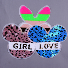 Pulaqi Cute M Mouse Sequin Patch DIY Embroidery Sewing On Flip Patches for Clothing Animals on Kids Clothes Applique