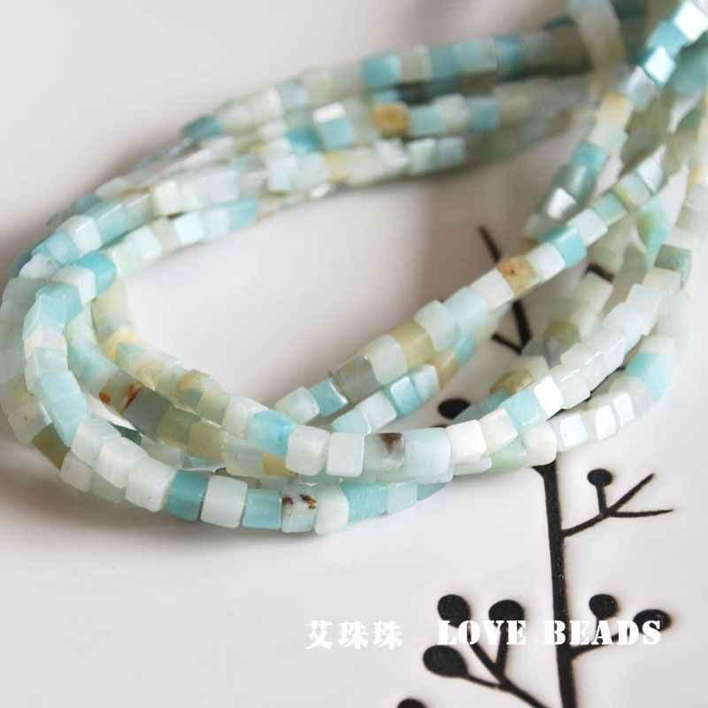 Природный Амазонит синий кубики смешанных цветов, размером 4x4 мм незакреплённые бусины браслет, ожерелье, серьги для изготовления украшения ручной работы материал ручной работы