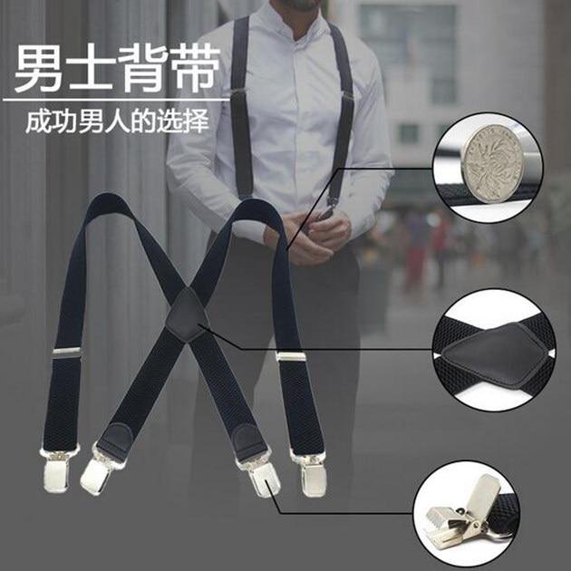 50mm Wide Women Man Unisex Adjustable Clip-on Braces Plain Heavy Duty Y-back Suspender Elastic Black