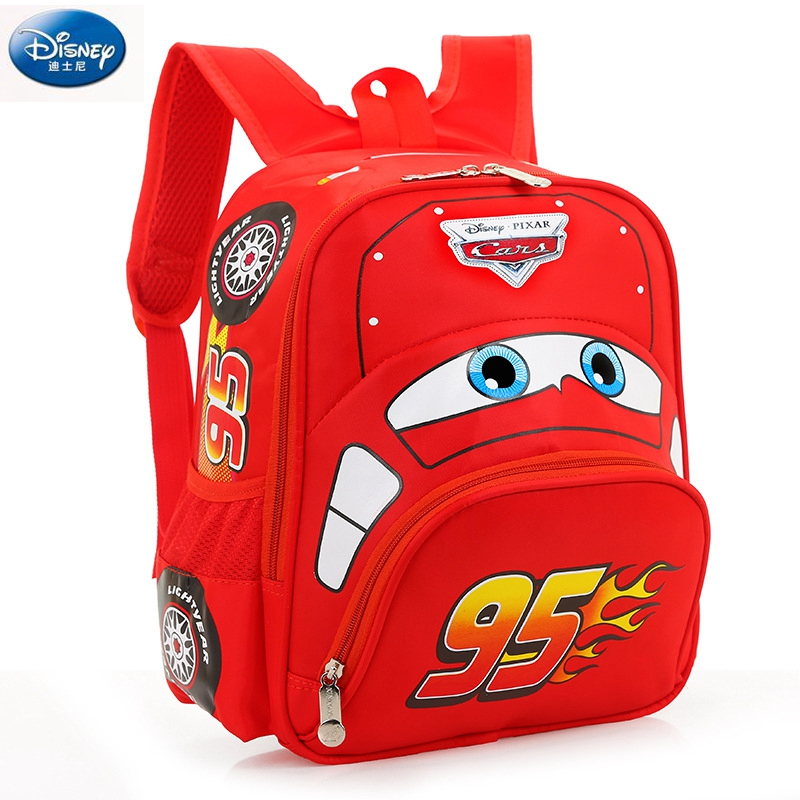 Image 2 - Disney cartoon car children backpack kindergarten girls boys 95 team backpack primary school students 3 6 years old-in Backpacks from Luggage & Bags