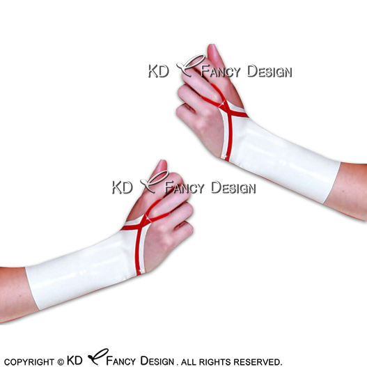 White With Red Sexy Fingerless Short Latex Gloves With Ring Rubber Mittens ST-0027