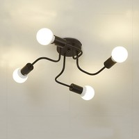 Nordic Vintage 4 Lights Ceiling Lights , Black/White Iron E27 Surface Mounted Ceiling Lamp for Living Room Bedroom Dining Room