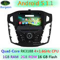 HD 1024X600 Quad Core 1.6G CPU Android 5.1.1 Coches Reproductor de DVD para Ford Focus 3 2011 2012 2013 2014 2015 GPS de Navegación Radio