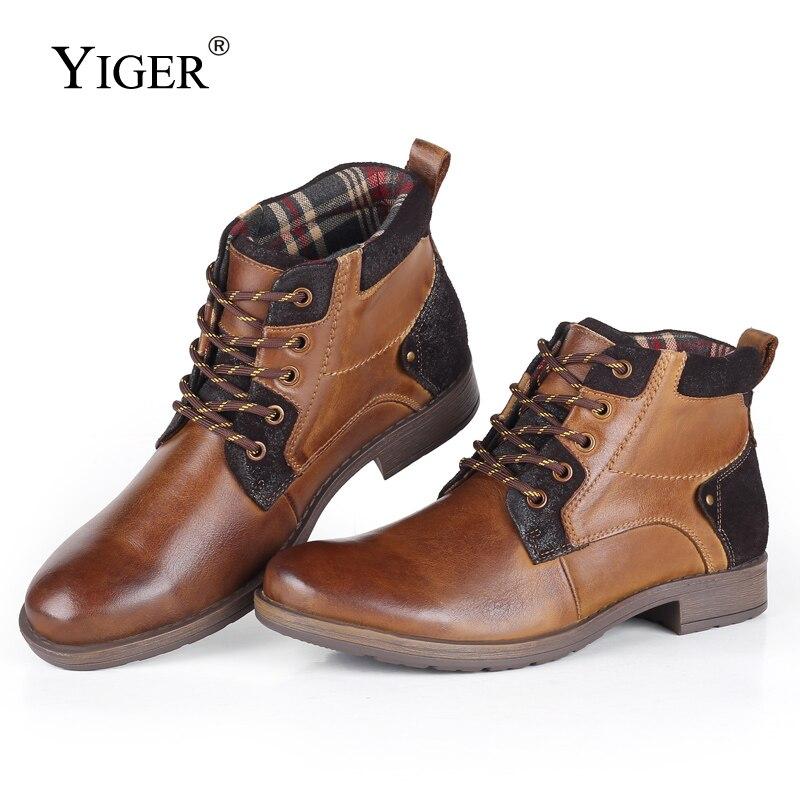 YIGER جديد الشتاء أحذية الرجال جلد طبيعي عارضة الكاحل الثلوج رجل مارتينز الأحذية حجم كبير الدانتيل متابعة الذكور حذاء فاخر 0234-في أحذية الثلج من أحذية على  مجموعة 1