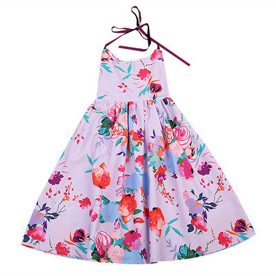 Helen115 Kid Baby Girls Summer Floral Printed Sleeveless Leak Back Belt Dresses 2-7 Years