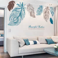 Large Feather Living Room TV Background Wallpaper Creative Bedside Point Art Decoration Wallpaper Painting