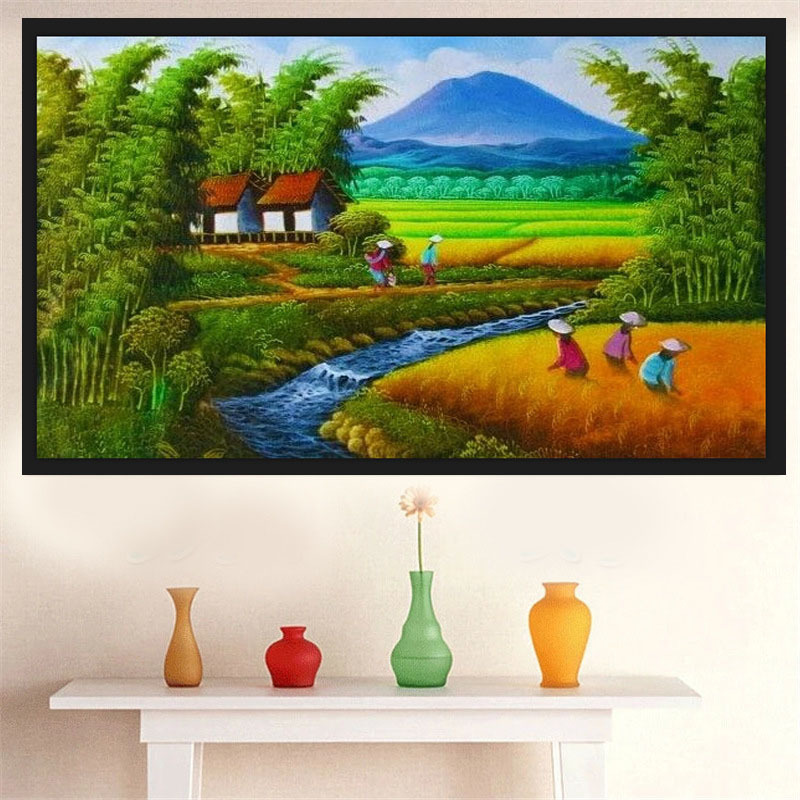 Magic Cube Drill Diamonds Picture Rural Scenery Diamonds Embroidery Diy Manual Point Drill Drawing