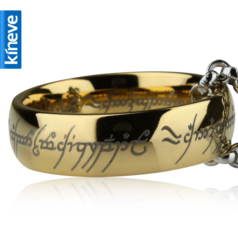 Lord Of The Rings Kineve LOTR Tungsten Carbide Ring Gold Free  With Chain Wide Ring Men Engagement Christmas Jewelry PresentRings   -