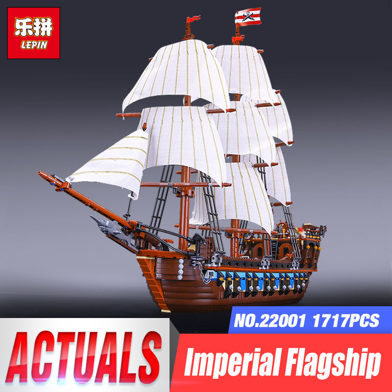 LEPIN 22001 1717pcs Pirate Warship Model Pretty Ships Model Building Block Briks Gift Children Flag Ship Christmas Gifts 10210 new bricks 22001 pirate ship imperial warships model building kits block briks toys gift 1717pcs compatible 10210