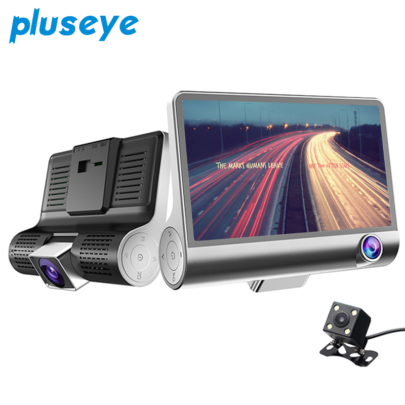 "2017 New 4.0"" Car DVR Camera Dual Lens with Rear view camera three camera Night vision Car DVRs Video registratori auto dashcam"