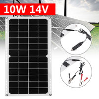 2V 10W Solar Panel PolyCrystalline Cells DIY Solar Module Epoxy Resin With Block Diode 2 Alligator Clips 4m Cable