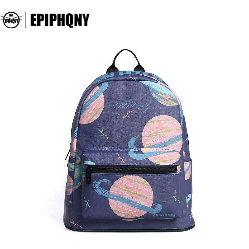 Epiphqny Brand Pocket Backpack Girls Cartoon Backpacks Fashion Cute Knapsack Women Bagpack PU Sky Star Packbag