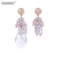 ELEGANCE11 Simulated Pearl Earring Asymmetric Teardrop Crystal Pendant Earrings Women Party Jewelry Wedding Earrings elegant faux pearl crystal teardrop necklace and earrings