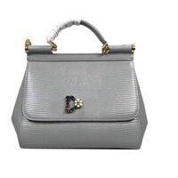 Luxury Brand Genuine Leather Women Bags Sicily Big Black Flower Handbags Rose Printed Shoulder Bags