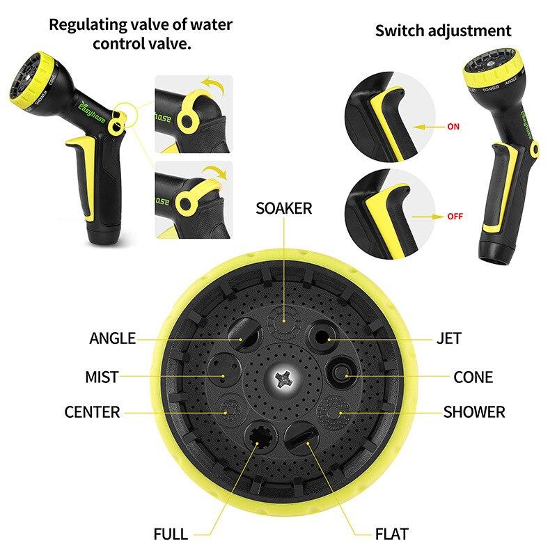 Garden Hose Expandable Magic Flexible High Pressure Car Wash Spray Gun 3 Times Telescopic Garden Watering Hose With Spray Gun 4